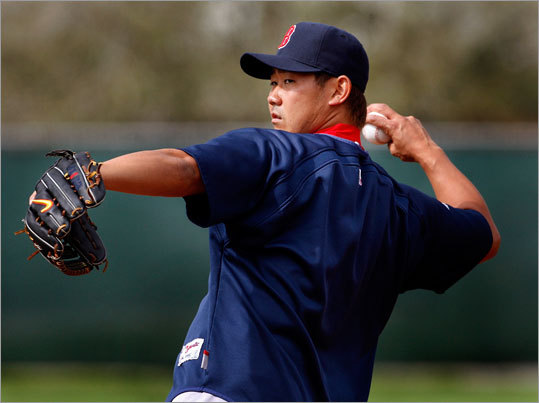 Later on Tuesday, the skies cleared, allowing Daisuke Matsuzaka to play catch.