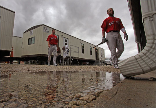 Dustin Pedroia headed to the indoor batting cages.
