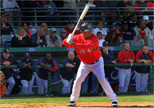 With the score a little lopsided, Red Sox staffer Ino Guerrero came out to pinch hit for David Ortiz in the fifth inning.