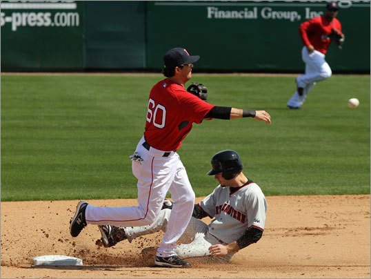 Red Sox shortstop Gil Velazquez turned a double play against Northeastern.