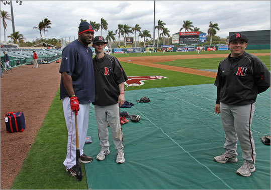 David Ortiz took a moment from batting practice to pose with Northeastern freshman second baseman Alan Pastyrnak.