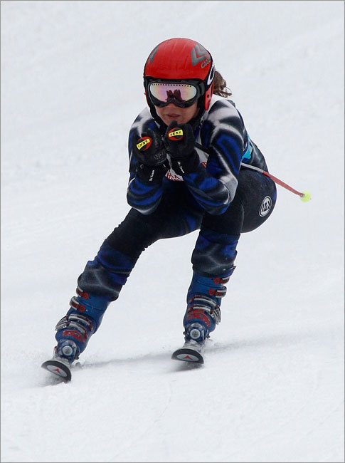 Courtney Cliffe of Masconomet skied down the Giant Slalom at Wachusett Mountain Wednesday morning during the MIAA state championships.