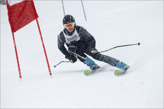 Duxbury's Kevin Nolan skied down the Giant Slalom at Wachusett Mountain Wednesday morning during the MIAA state championships.