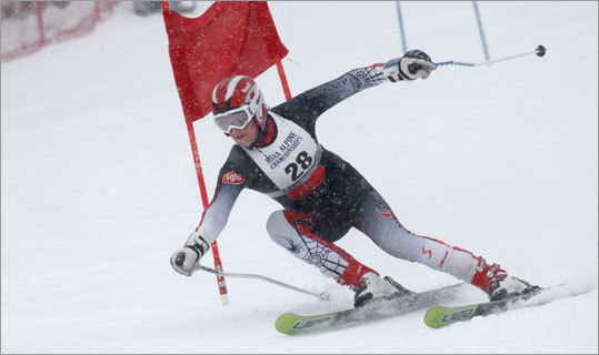 Jake Looman skied down the Giant Slalom at Wachusett Mountain Wednesday morning during the MIAA state championships.