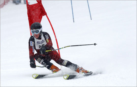 Wellesley's Mark McKenna skied down the Giant Slalom at Wachusett Mountain Wednesday morning during the MIAA state championships.