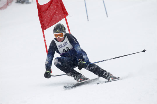 Brian Roche of Hingham skied down the Giant Slalom at Wachusett Mountain Wednesday morning during the MIAA state championships.