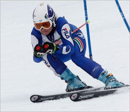 Nicole Sanzogni of Lenox skied down the Giant Slalom at Wachusett Mountain Wednesday morning during the MIAA state championships.