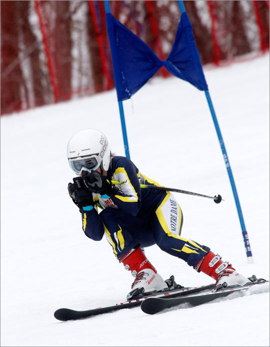 Amelia Brown of Notre Dame Academy skied down the Giant Slalom at Wachusett Mountain Wednesday morning during the MIAA state championships.
