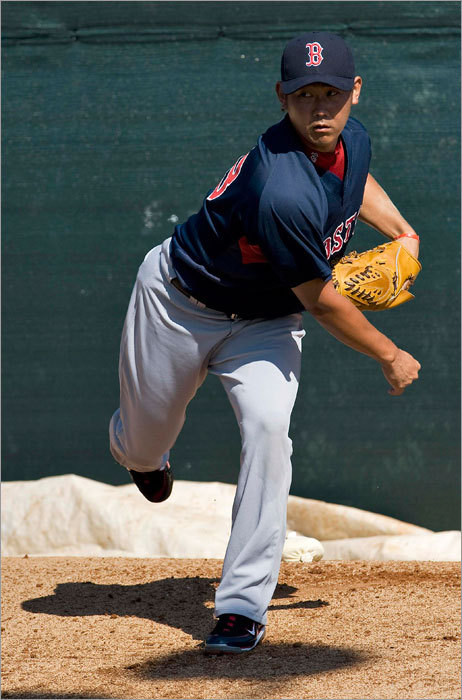 Red Sox pitcher Daisuke Matzusaka threw in the bullpen during a workout at the team's spring training baseball complex at City of Palms Park on Friday.