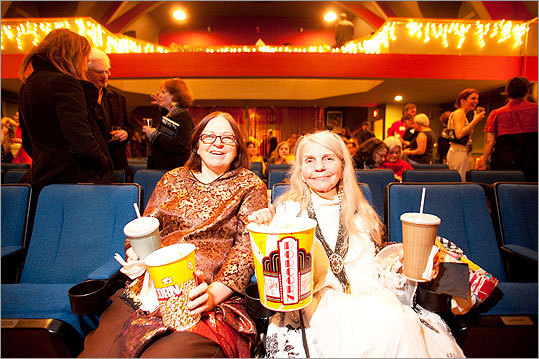 Mary Lou Shields of Arlington and Donnah Canavan of Brighton claimed the same two front row seats they sat in at last year's party. 'We love movies,' Shields said. 'We see all the movies.'