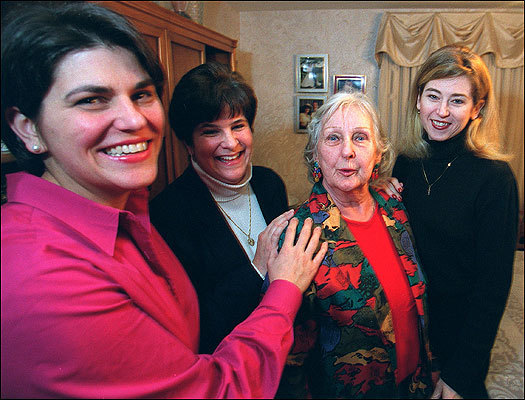 Virginia Lepore with her three daughters-in-law (from left) Katie, Lisa, and Cindy.