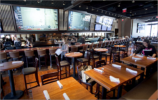 The interior of Jerry Remy's Bar and Grill on Boylston Street in Boston.