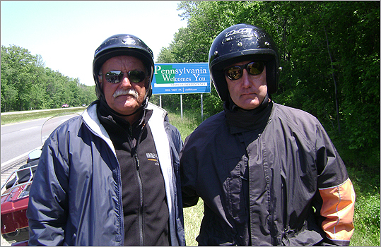 Doug Oakley (right) and Paul Zepf during their 26-day motorcycle tour in 2009.