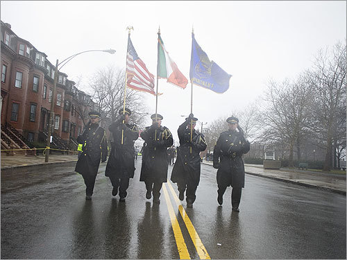 The Boston Police Department marched at the start of the St. Patrick's Day parade.