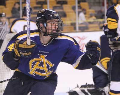 Arlington Catholic sophomore Niko Rufo celebrates his goal against Archbishop Williams during his squad's 5-0 state championship win Sunday at TD Garden.