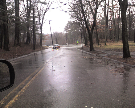 Joshua Gordon took this photo with his cellphone when he encountered a roadblock and stuck car around 10:30 a.m. Monday near Lower Falls Park and the Leo Martin Golf Course on the Weston-Newton border.