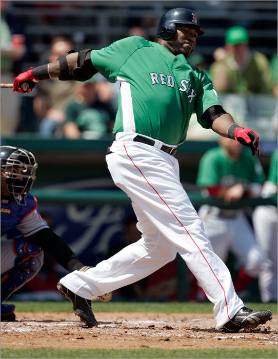 The Red Sox and Mets wore green uniforms for a St. Patrick's Day spring training game in Fort Myers, Fla. Here, David Ortiz singled off Mike Pelfrey in the fourth inning. The Mets won 4-2.
