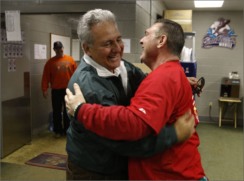Carbo now runs a baseball camp at Hank Aaron Stadium in Mobile, Ala. He greeted former Red Sox teammate Rico Petrocelli in early March when reporter/photographer Stan Grossfeld visited for his story on Carbo.