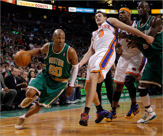 Ray Allen (right) and the Celtics have feasted on the weaklings of the NBA lately, posting blowout wins over the Pistons (119-93) and Knicks (109-97). But starting tonight in Houston, the Celtics face a tough four-game stretch against Western Conference teams, with three on the road and a return home to face the second-best team in the West, Denver. Here's a look ahead:
