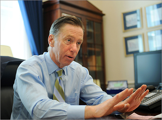 Congressman Stephen Lynch answers questions during an interview in his Capitol Hill office on February 25.