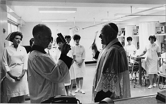 Cardinal Cushing dedicates a new intensive care unit at Carney Hospital in 1967.