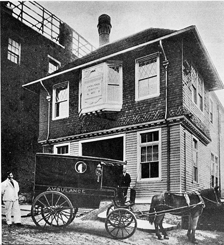 In 1899 the city of boston built this ambulance station at the old Carney Hospital. The lower part was used as a stable (a horse-drawn ambulance can be seen in this photo), and residents and interns lived upstairs.
