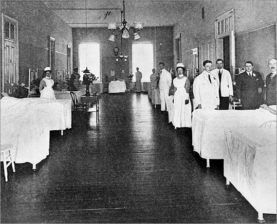 This photo from 1913 shows the size of one of the wards inside Carney Hospital.