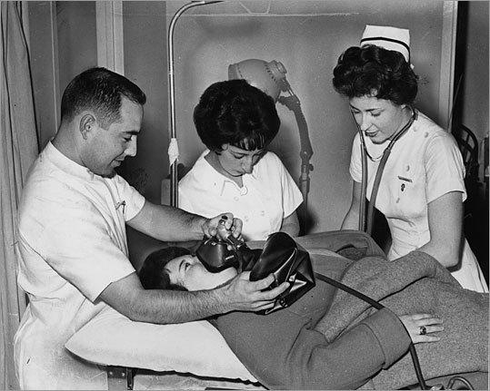 Hospital staff at St. Elizabeth's Hospital go through a training drill in 1962.