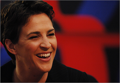 MSNBC host Rachel Maddow will speak at Smith College's May 16 commencement. Maddow (left) on the set in October 2008.