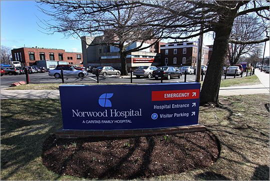 Norwood Hospital Location: Norwood Number of beds: 264 Physicians: 550 Nurses: 476 Employees: 1,686 Emergency department visits a year: 50,000 Inpatient discharges a year: 13,000 Patient revenue (2008): $149 million Service area: Canton, Dedham, Dover, Foxboro, Franklin, Mansfield, Medfield, Norfolk, North Attleboro, Norton, Norwood, Plainville, Sharon, Walpole, Westwood, and Wrentham