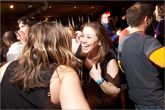 Maggie Levine of Brighton enjoyed a laugh with her roommate Marisa Greenberg at Bootie Boston.