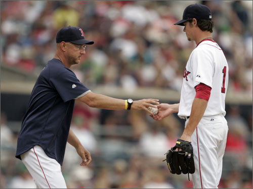 Terry Francona took Clay Buchholz out of the game in the fifth inning. Buchholz gave up four runs on five hits, but struck out seven to earn the victory.