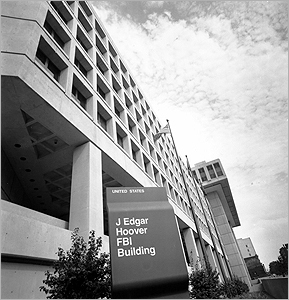 The facade of the J. Edgar Hoover FBI Building in Washington in August 1977.