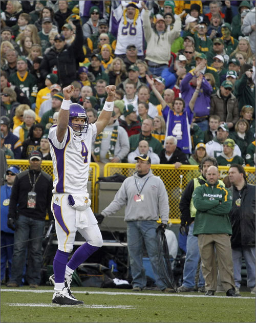 Brett Favre (if he's still playing) will make a trip (possibly his last) to New England. It's impossible to tell if Favre will be a Viking come August, or even September, but the Vikings, with or without Favre, will visit the Patriots. 4:15 p.m. Oct. 31 at Gillette.