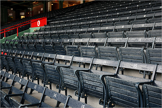 Another improvement for 2010: 12,000 blue wooden seats -- the last remaining wooden seats in Major League Baseball -- have been refurbished with new springs so the seats pop up when fans rise, ending a Fenway Park tradition that has sent generations home with limps after whacking knees on down seats.