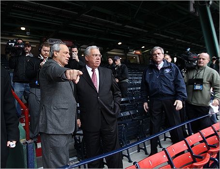 Red Sox President Larry Lucchino talked to Mayor Menino during the walk-through.