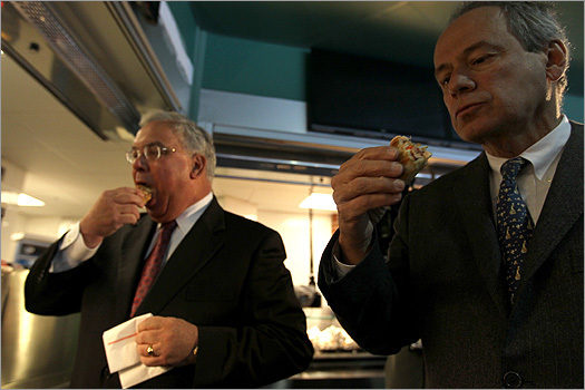 Lucchino and Menino sampled food at a concession stand.