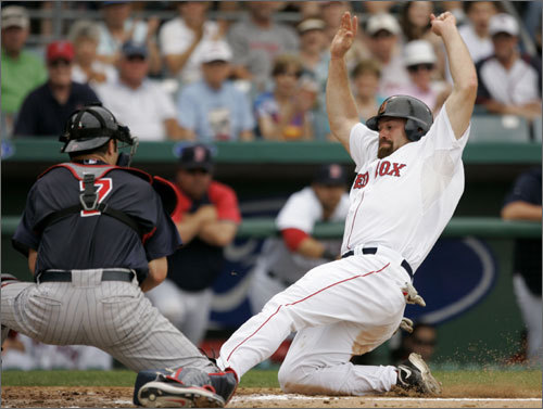 Kevin Youkilis was tagged out by Minnesota Twins' Joe Mauer to end the third inning.