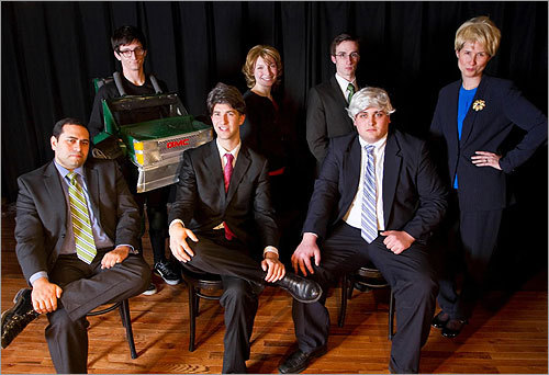 From left, the whole cast of 'You're a Good Man, Scott Brown' includes Eddie Mejia as Governor Deval Patrick, Quinn Beswick as Brown's truck, Evan Kaufman as Brown, Molly Schreiber as Brown's wife, Gail Huff, Bryan Daley as independent Senate candidate Joseph Kennedy, Trevor Livingston as the ghost of Ted Kennedy, and Cathleen Carr as Attorney General Martha Coakley, Brown's Democratic rival in the Senate race.