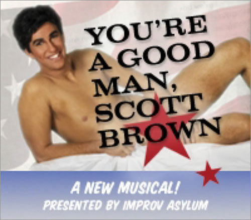 Scott Brown and his wife, Gail Huff, were out on the town Wednesday for a performance of 'You're a Good Man, Scott Brown,' a musical at the Improv Asylum in Boston that pokes fun at the state's newest US senator and his road to the office. The advertisement for 'You're a Good Man, Scott Brown' showed Evan Kaufman as Scott Brown, imitating the senator's daring 1982 Cosmopolitan photo shoot. Scroll through to see scenes from Wednesday night's show, with Brown in attendance.