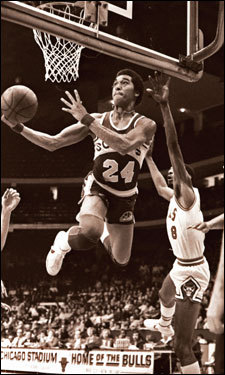 In this March 1979 photo, Johnson, then a member of the Seattle SuperSonics, soared to the basket against the Chicago Bulls.