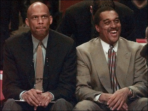 Johnson (right) -- with Kareem Abdul-Jabbar to his left -- was a Clippers assistant coach in 2000.