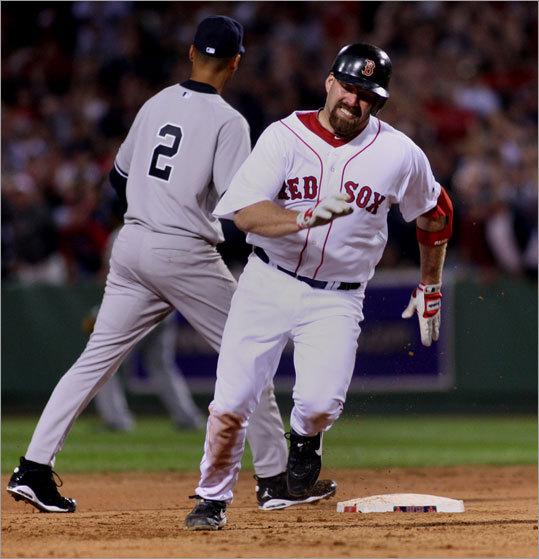 Kevin Youkilis headed for third base in the sixth inning. Youkilis hit a two-run triple, the scored to tie the score at 5-5.