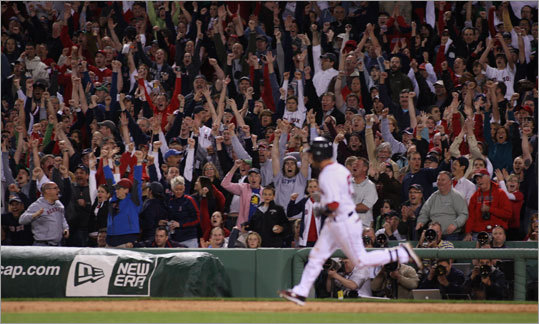 Dustin Pedroia cranked a two-run homer over the Green Monster in the seventh inning that tied the score at 7-7.