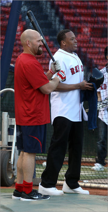 Kevin Youkilis shared a moment with musician Dr. Dre, who was taking batting practice at Fenway.
