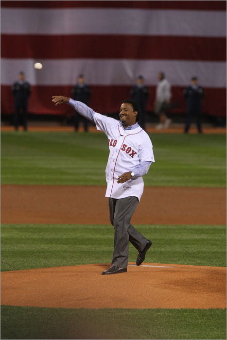 Pedro Martinez was honored in part for his role in the 2004 Red Sox world championship team.