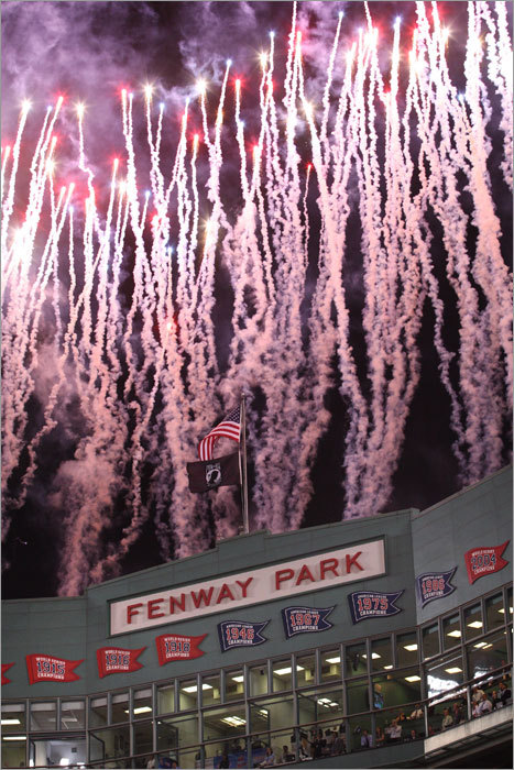 A pregame fireworks display preceded the baseball game Sunday night.