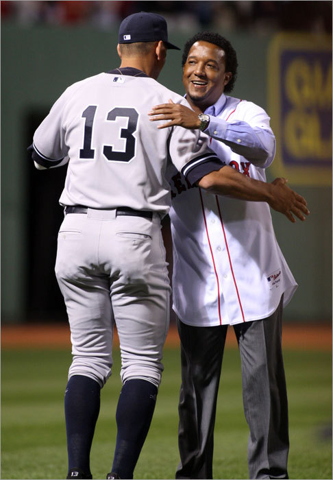 Pedro even had time to hug hated Yankee Alex Rodriguez.
