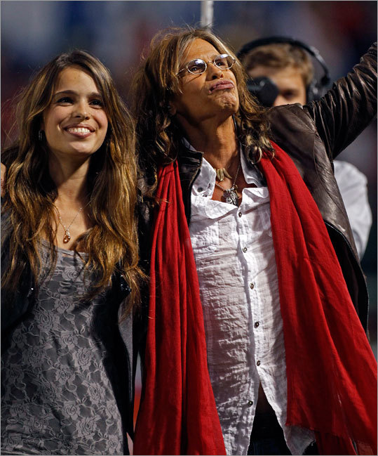 Steven Tyler of Aerosmith sang God Bless America in the seventh inning. He was accompanied by his daughter, Chelsea.
