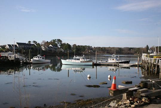 Boats docked in York Harbor.